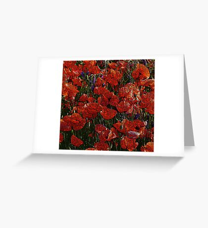 Red Poppies, abstract art, red flowers, wall art, home decor Greeting Card