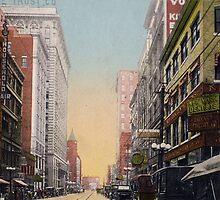 Looking North on Walnut Street near 10th., Kansas City, MIssouri view from antique postcard. by Steve Sutton
