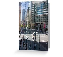 Downtown through Glass Greeting Card