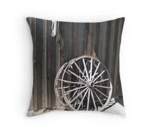 Wooden wheel Throw Pillow