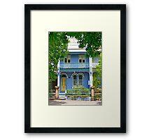 The Blue Terrace House. Old Sydney Style.  Framed Print