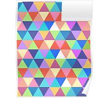 Utah Colorful Triangles Geometric Hipster Utah State Poster