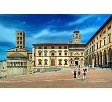 Arezzo - Piazza Grande and Santa Maria della Pieve Church Photographic Print