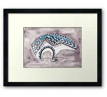 Native Bear in Blue and Gray Framed Print