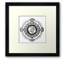 Earth Mandala (black) Framed Print