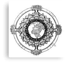 Earth Mandala (black) Canvas Print