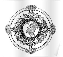 Earth Mandala (black) Poster