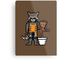 8Bit Rocket and Groot Metal Print