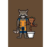 8Bit Rocket and Groot Photographic Print