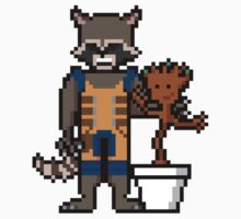 8Bit Rocket and Groot Kids Clothes