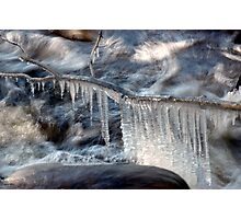 Ice Cycle Hangs Over Raging Waters. Photographic Print