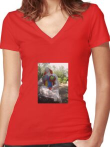 SITTING IN THE TAROT GARDEN Women's Fitted V-Neck T-Shirt