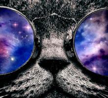 Galaxy on Cat's Glasses Sticker