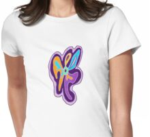 Purple Freeform Flower Womens Fitted T-Shirt