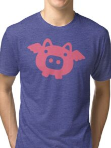 Flying Pink Pig Tri-blend T-Shirt
