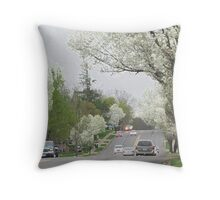 Blooming Trees In The neighborhood Throw Pillow
