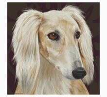 Gorgeous Light Fur Saluki Dog on Brown Background Kids Tee