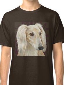 Gorgeous Light Fur Saluki Dog on Brown Background Classic T-Shirt