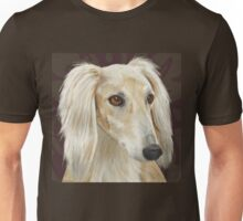 Gorgeous Light Fur Saluki Dog on Brown Background Unisex T-Shirt
