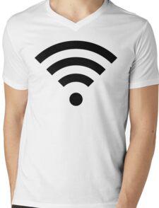 Wi-Fi Signal Black Mens V-Neck T-Shirt