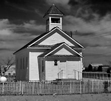 The Little White Church ( Black and White) by Carla Jensen