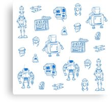 Blue robots Canvas Print