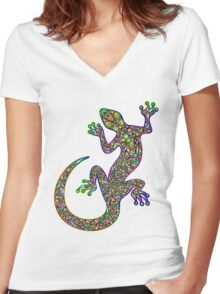Psychedelic Lizard Gecko  Women's Fitted V-Neck T-Shirt