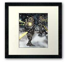 Electronic Rabbit Fighters [Digital Science-Fiction Drawing] Framed Print