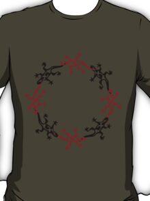 Gecko Lizard Circle Red and Black T-Shirt