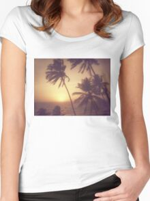 Sand, Beach, Sunset Women's Fitted Scoop T-Shirt
