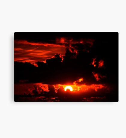 dark moody red sunset sky Canvas Print