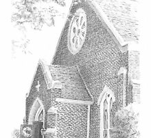 Church front drawing by Mike Theuer