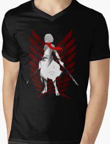 Mikasa of Recon Corps Mens V-Neck T-Shirt