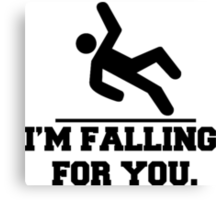 I'm Falling For You, Stickman Design & Quote Canvas Print