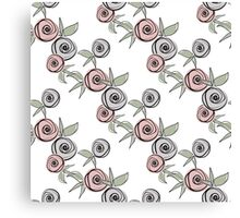 Seamless floral pattern with roses background Canvas Print