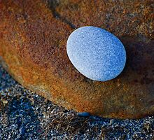 Tranquil Zen Stacked Blue Copper Small Large Beach Stones Rocks Pebbles Sand Strength Support by jocelynsart