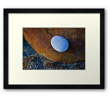 Tranquil Zen Stacked Blue Copper Small Large Beach Stones Rocks Pebbles Sand Strength Support Framed Print