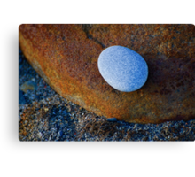 Tranquil Zen Stacked Blue Copper Small Large Beach Stones Rocks Pebbles Sand Strength Support Canvas Print