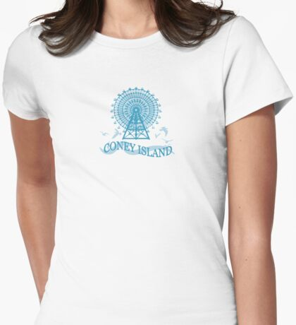 Coney Island - New York. Womens Fitted T-Shirt
