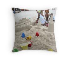 Sand Boat On Beach Throw Pillow