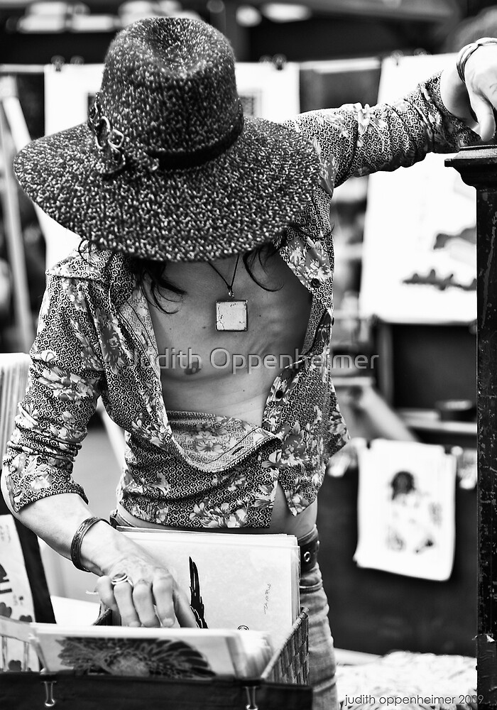 Cat in the Hat - Black and White, New York, NY by Judith Oppenheimer