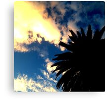 Palm Tree Silhouette - The Sun Behind The Clouds Canvas Print