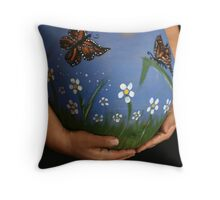 Monarch Butterfly Garden Throw Pillow