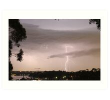 Lightning crashes Art Print