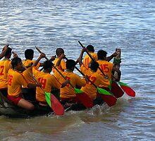 Boat racing, Irrawaddy River, Mandalay, Burma. by John Mitchell