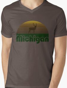 Retro Michigan Mens V-Neck T-Shirt