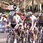 Stuart O'grady with lance Armstrong behind him Tour down under 2009 by Tracey Pearce
