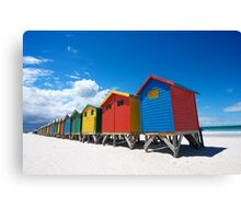 Bright Coloured bathing boxes Canvas Print