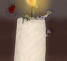 A candle's flame and little monsters by BashsArt