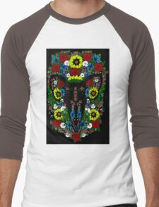 Goat's skull in Flowers Men's Baseball ¾ T-Shirt